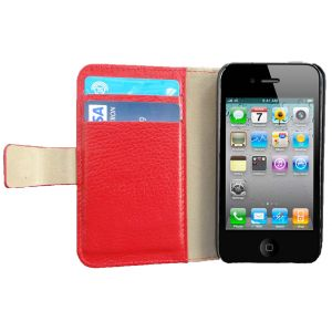 iLeather plånbok för iPhone 4 & 4s, röd
